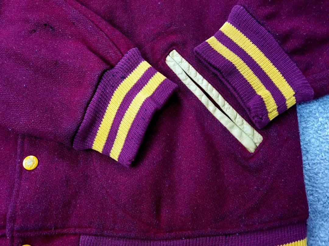 即決 ~70s USA製 ビンテージ MAPLE Athletic Sportswear ワッペン & チェーン刺繍 スタジャン バーガンディ L アメリカ製 アメカジ_画像5