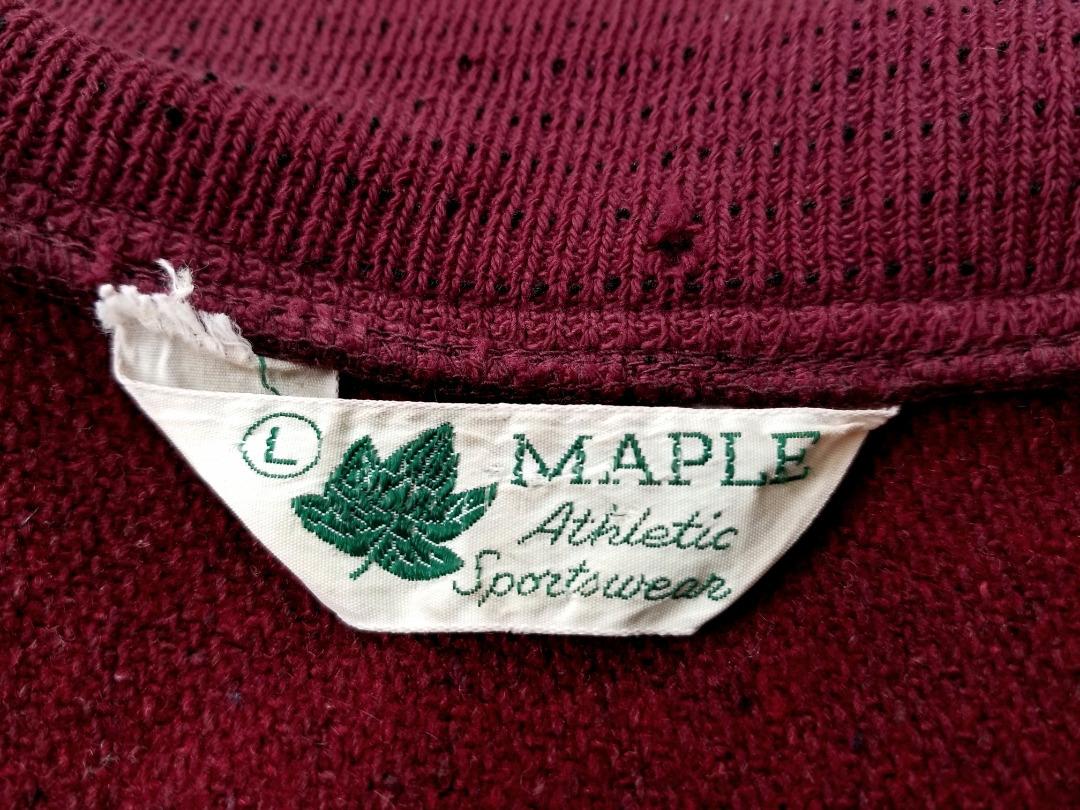 即決 ~70s USA製 ビンテージ MAPLE Athletic Sportswear ワッペン & チェーン刺繍 スタジャン バーガンディ L アメリカ製 アメカジ_画像10