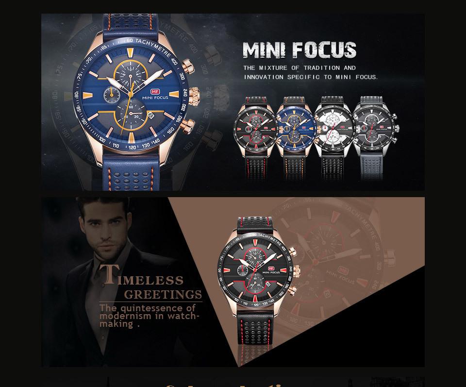 【お買い得◆最低落札価格無し◆新品未使用◆ハイブランド】MINI FOCUS 高級 メンズ クォーツ式 腕時計 防水 クロノグラフ 色選択可◆1029_画像6