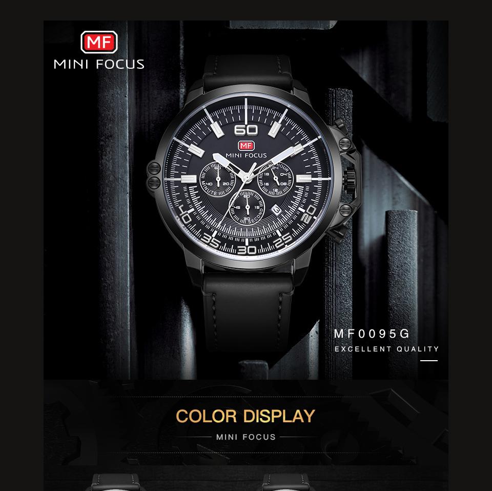 【お買い得◆最低落札価格無し◆新品未使用◆ハイブランド】MINI FOCUS 高級 メンズ クォーツ式 腕時計 防水 クロノグラフ 色選択可◆1042_画像5