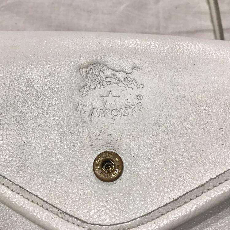 IL BISONTE イルビゾンテ レザーショルダーバッグ made in Italy イタリア製 / ビンテージ オールド ハンドバッグ オールレザー_刻印右横にごく薄い赤いスレあり