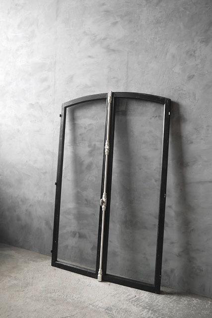 アンティーク フランス ブラックペイント ウッド窓枠  2枚セット ドア 建具_画像1