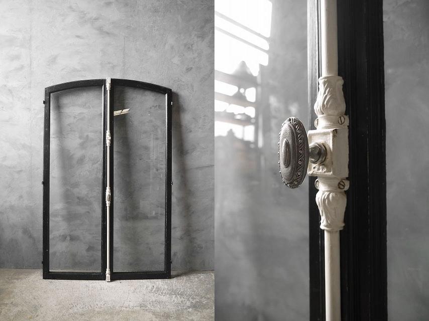 アンティーク フランス ブラックペイント ウッド窓枠  2枚セット ドア 建具_画像2