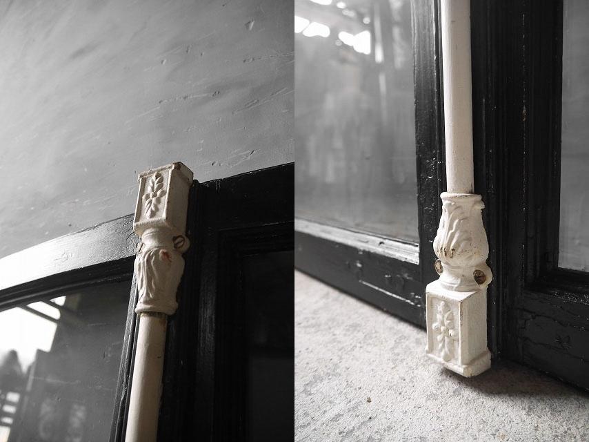 アンティーク フランス ブラックペイント ウッド窓枠  2枚セット ドア 建具_画像3
