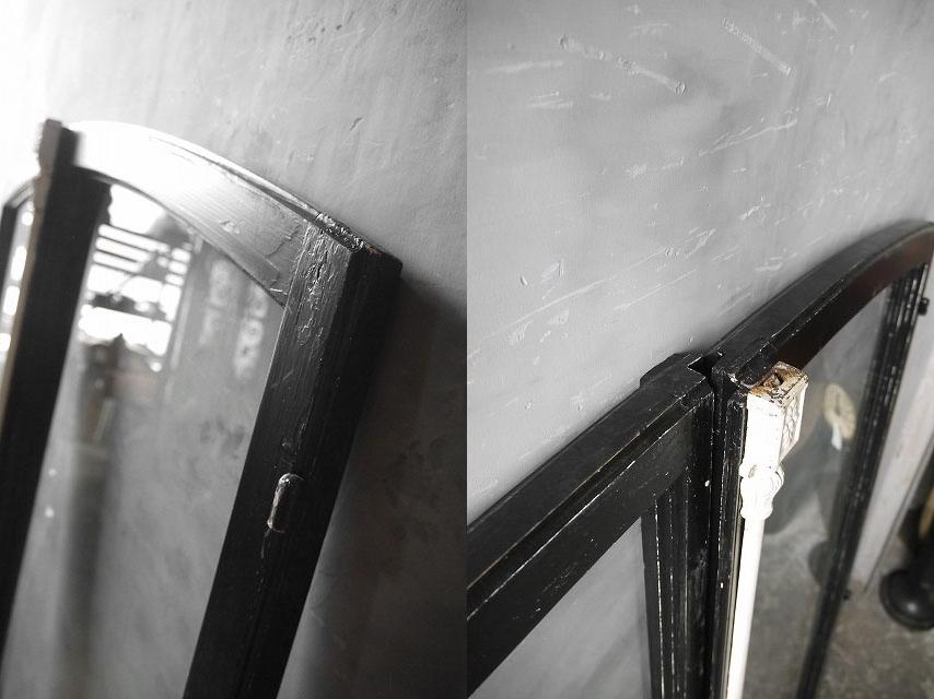 アンティーク フランス ブラックペイント ウッド窓枠  2枚セット ドア 建具_画像4