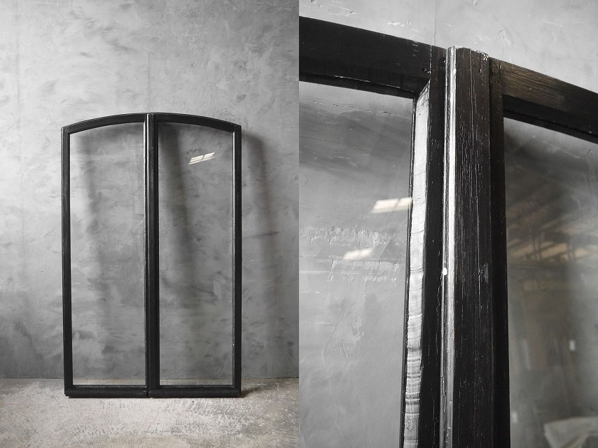 アンティーク フランス ブラックペイント ウッド窓枠  2枚セット ドア 建具_画像6