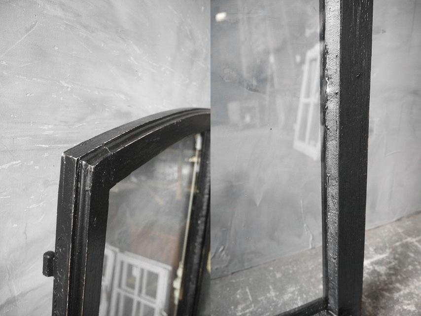 アンティーク フランス ブラックペイント ウッド窓枠  2枚セット ドア 建具_画像7