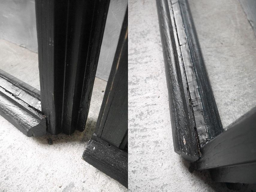 アンティーク フランス ブラックペイント ウッド窓枠  2枚セット ドア 建具_画像8