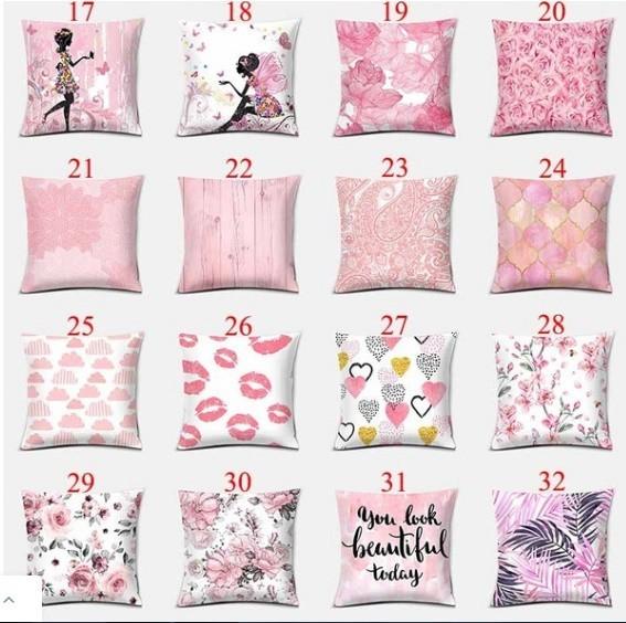 M261 ピンクシリーズ両面印刷枕カバー家の装飾車のソファクッションカバー(45cm * 45cm)_画像3
