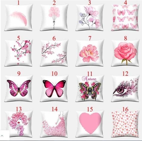 M261 ピンクシリーズ両面印刷枕カバー家の装飾車のソファクッションカバー(45cm * 45cm)_画像2