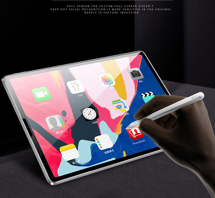 iPad Pro 12.9インチ ガラスフィルム0.33mm 硬度9H Face ID対応強化ガラス液晶保護フィルム 超薄型高感度高透過率指紋気泡防止飛散防止処理_画像3