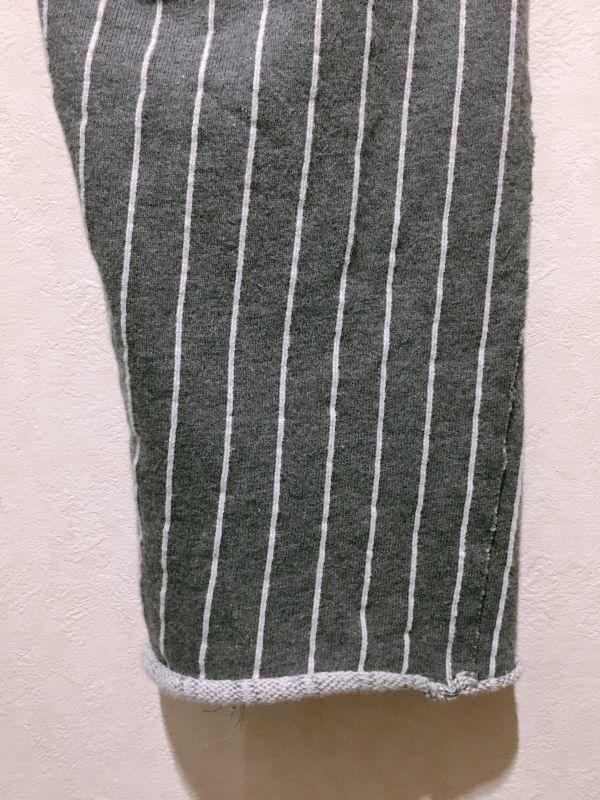 ミハラヤスヒロ miharayasuhiro ★ セットアップ スウェット スーツ ストライプ ダメージ 切りっぱなし グレー&白 上下セット 46