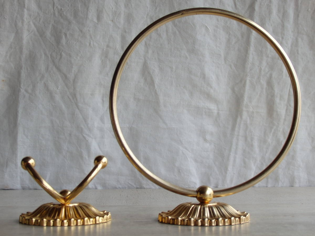 oフランスアンティーク タオルホルダー 2個セット ハンガー バー ゴールド 布巾掛け フック 蚤の市 ブロカント 装飾 ブロンズ 青銅_画像4