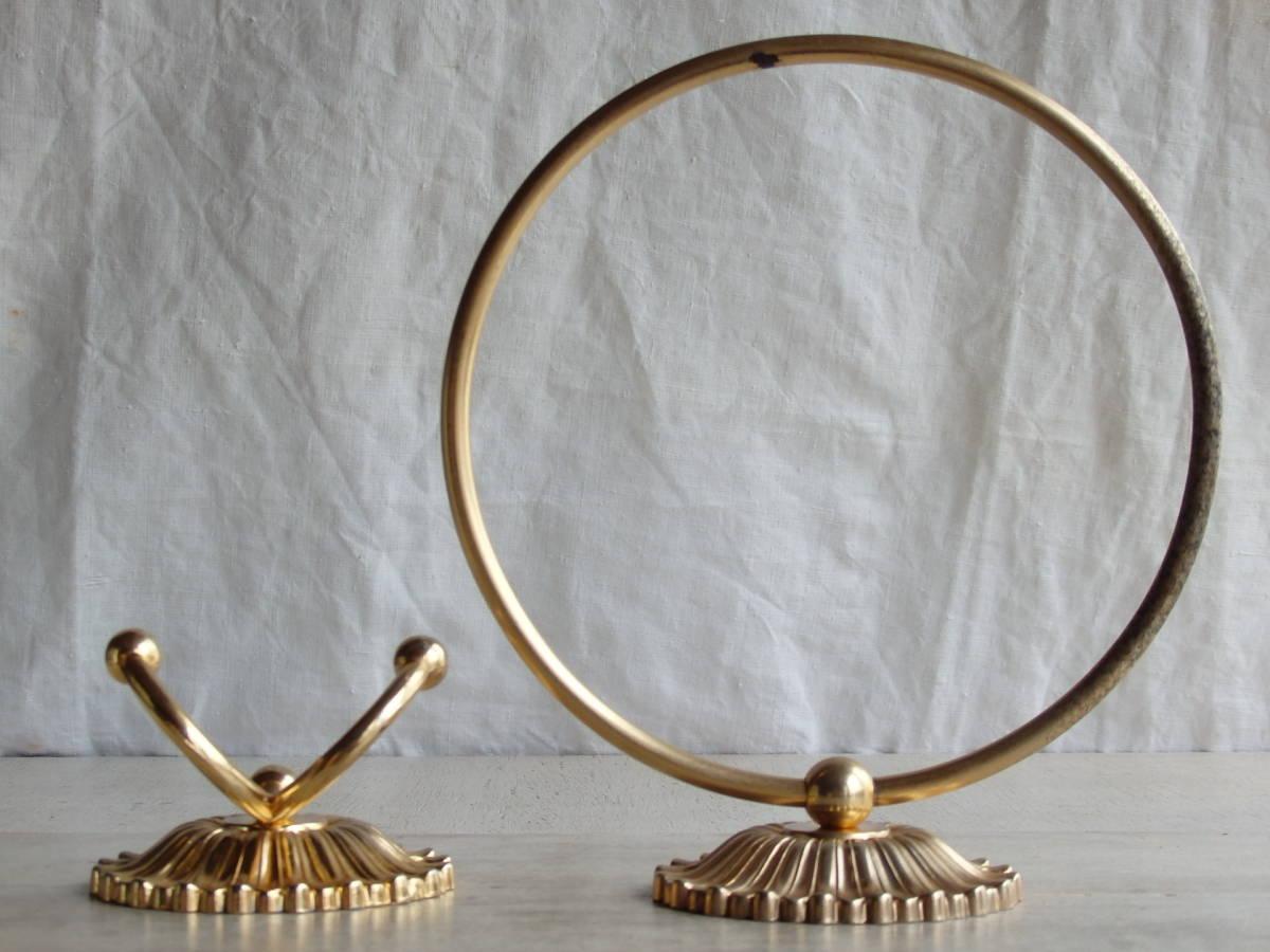 oフランスアンティーク タオルホルダー 2個セット ハンガー バー ゴールド 布巾掛け フック 蚤の市 ブロカント 装飾 ブロンズ 青銅 仏_画像4