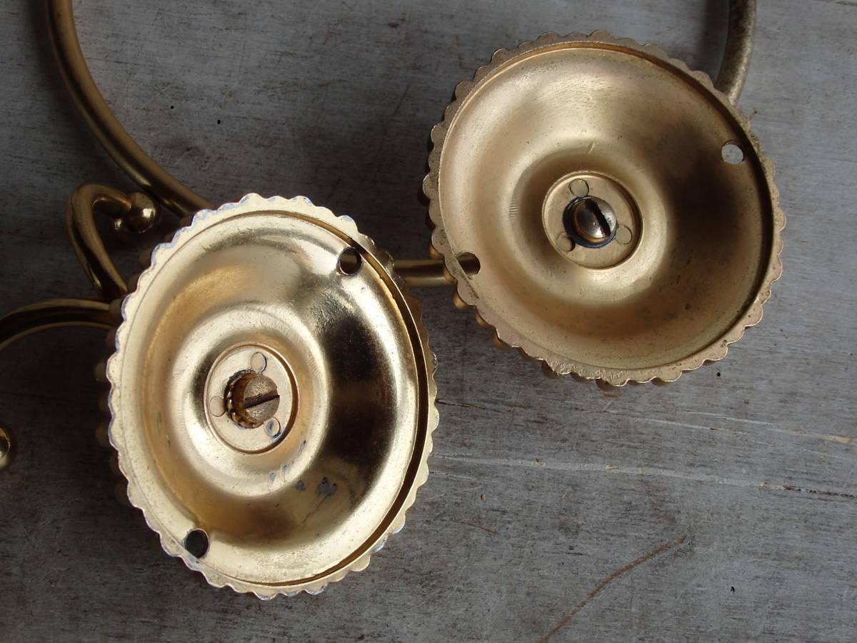 oフランスアンティーク タオルホルダー 2個セット ハンガー バー ゴールド 布巾掛け フック 蚤の市 ブロカント 装飾 ブロンズ 青銅 仏_画像5