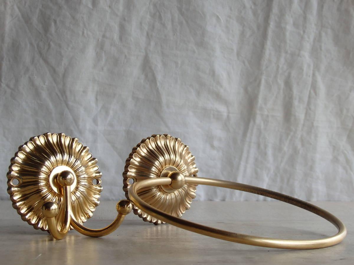 oフランスアンティーク タオルホルダー 2個セット ハンガー バー ゴールド 布巾掛け フック 蚤の市 ブロカント 装飾 ブロンズ 青銅 仏_画像10