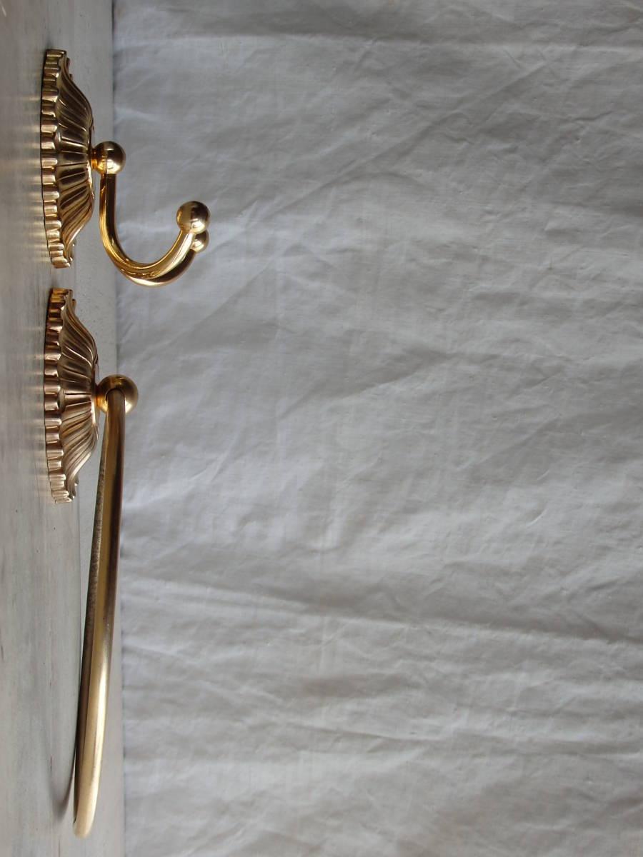 oフランスアンティーク タオルホルダー 2個セット ハンガー バー ゴールド 布巾掛け フック 蚤の市 ブロカント 装飾 ブロンズ 青銅 仏_画像3