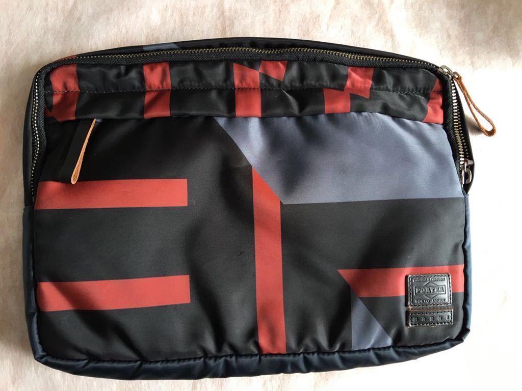 鞄 ◆ MARNI × PORTER クラッチバッグ サーフィン 切替 2way マルニ × ポーター サーフコレクション 総柄 グレー レッド 110_画像1