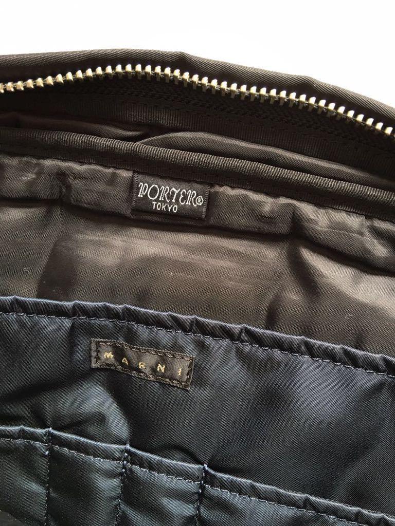 鞄 ◆ MARNI × PORTER クラッチバッグ サーフィン 切替 2way マルニ × ポーター サーフコレクション 総柄 グレー レッド 110_画像9