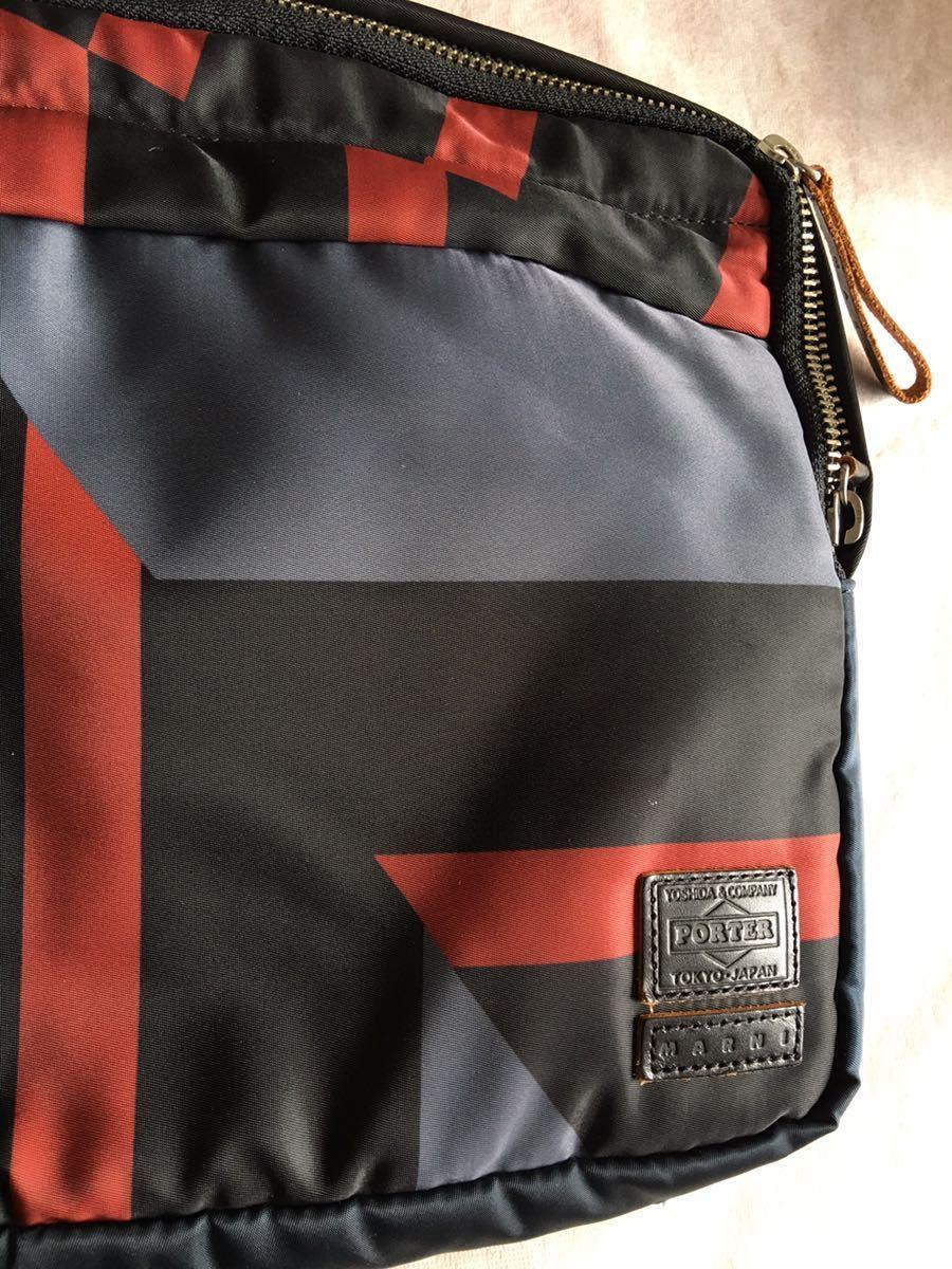 鞄 ◆ MARNI × PORTER クラッチバッグ サーフィン 切替 2way マルニ × ポーター サーフコレクション 総柄 グレー レッド 110_画像4