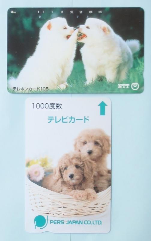 テレカとテレビカード(㈱・パースジャパン) 使用済み、子犬2匹 各1枚 発行年・犬種不明 わんこ 送料63円(郵便書簡)_テレカとテレビカード かわいい子犬2匹