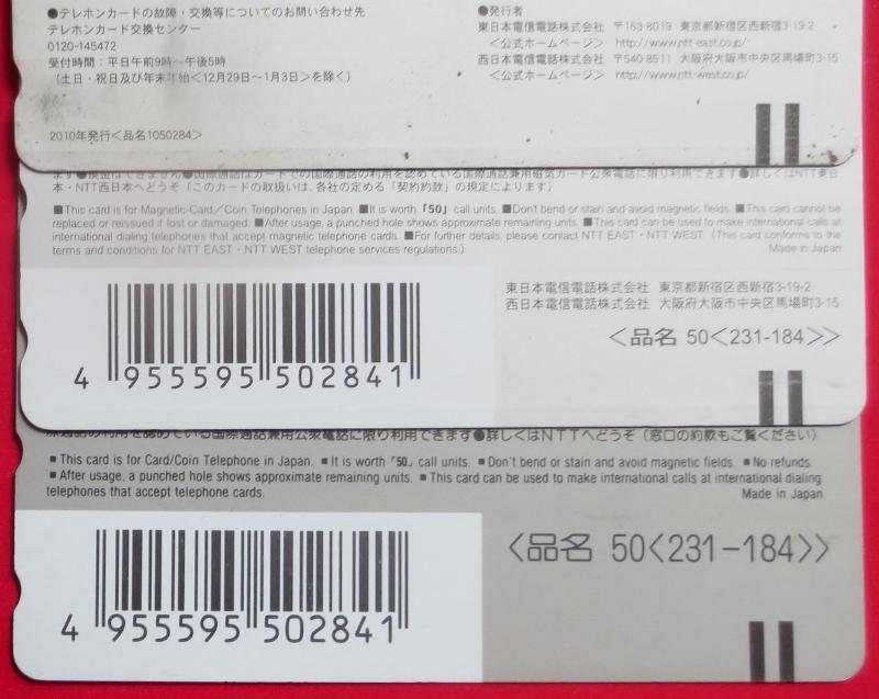 テレホンカード50、使用済み・かわいい子犬2匹 NTT発行、おもて面同一、裏面異なり品(発行時期違い)発行年、犬種不明 わんこ 送料63円_画像3