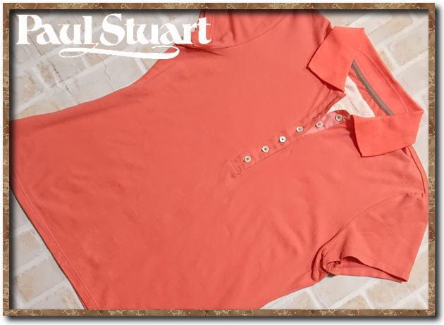 ☆Paul Stuart ポールスチュアート 刺繍入り半袖ポロシャツ 朱色☆_画像1
