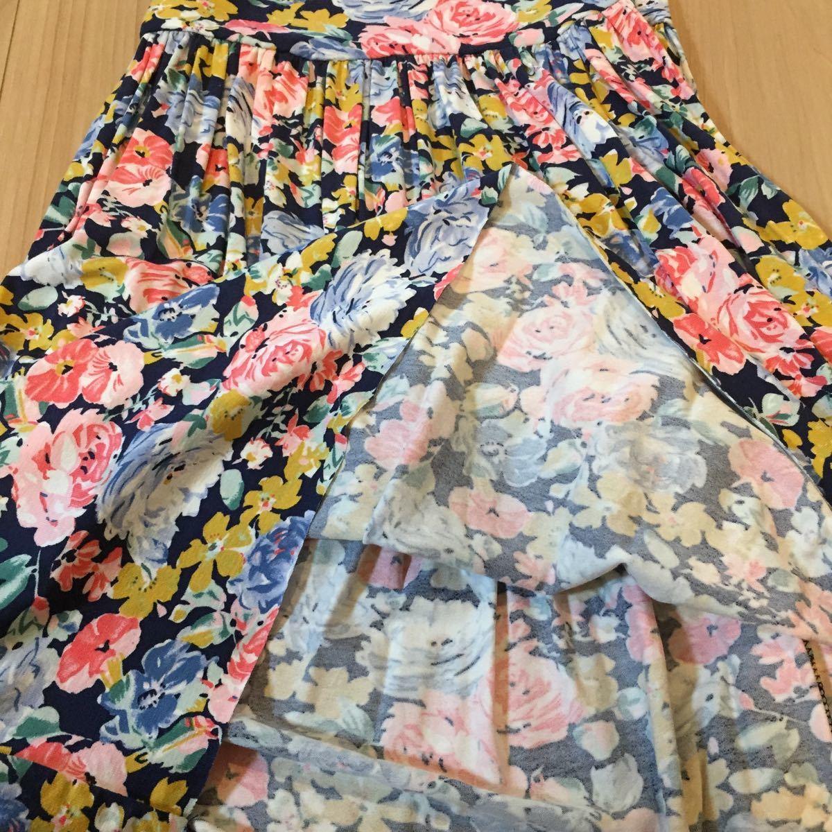 花柄ワンピース ノースリーブ ザラZARA 未使用 タグ付 紺 ピンク ブルー サマードレス リゾート Tシャツの上に フレア Mサイズ ストレッチ_画像6