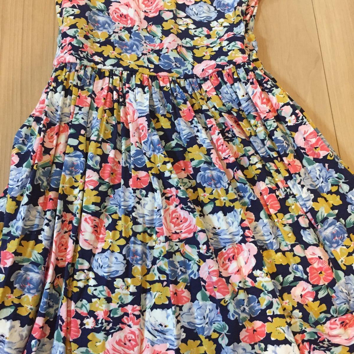花柄ワンピース ノースリーブ ザラZARA 未使用 タグ付 紺 ピンク ブルー サマードレス リゾート Tシャツの上に フレア Mサイズ ストレッチ_画像3
