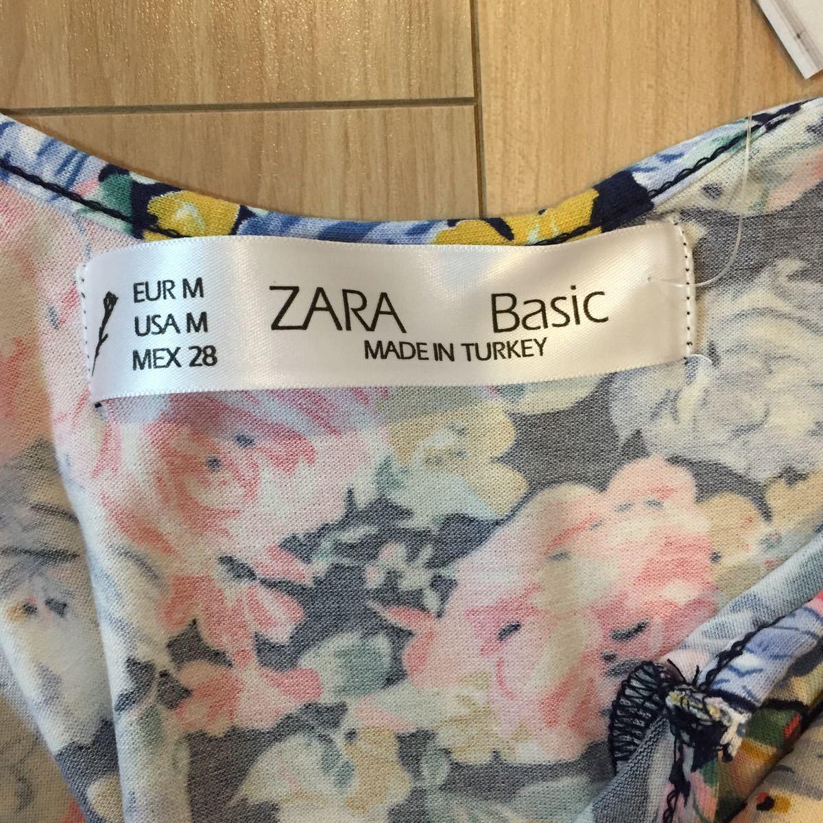 花柄ワンピース ノースリーブ ザラZARA 未使用 タグ付 紺 ピンク ブルー サマードレス リゾート Tシャツの上に フレア Mサイズ ストレッチ_画像7