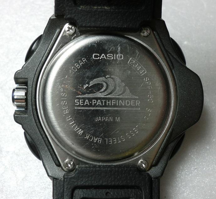 お宝 カシオ シーパスファインダー SPF-50 気圧 温度 計測可能 ツインセンサー搭載 CASIO SEAPATHFINDER_裏蓋!