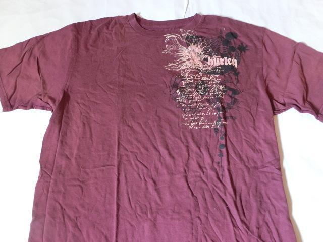 USA購入 MADE IN USA 【Hurley】 ハーレー ロゴプリントTシャツUS XLサイズ エンジ_画像1