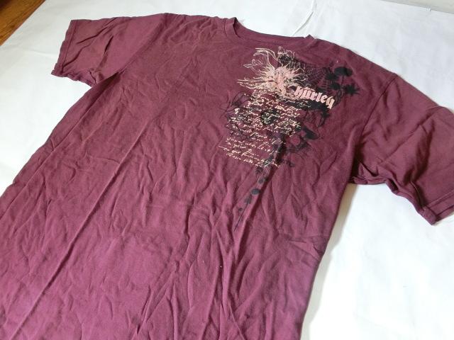 USA購入 MADE IN USA 【Hurley】 ハーレー ロゴプリントTシャツUS XLサイズ エンジ_画像4
