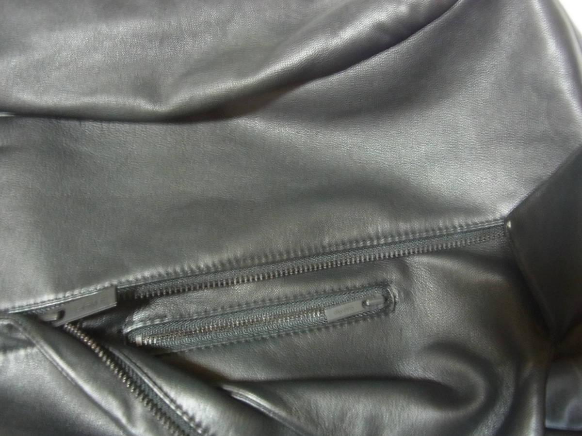 カルバンクライン 羊革レザーダブルライダースジャケット黒_画像3