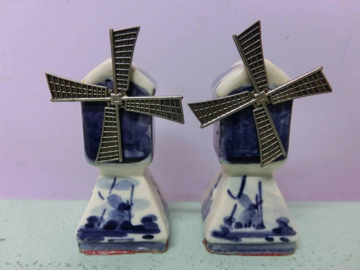 ビンテージ 風車 動く ソルト&ペッパー 陶器 調味料入れ フィギュア アメリカ アンティーク置物 Vintage Vintage Figure オランダ_画像1
