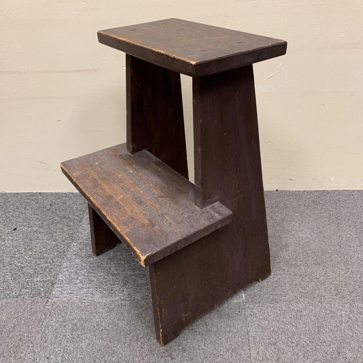 * 木製 スツール 踏み台 飾り棚 花台 ステップ ディスプレイ 陳列台 レトロ アンティーク 格安売り切りスタート◎_画像2