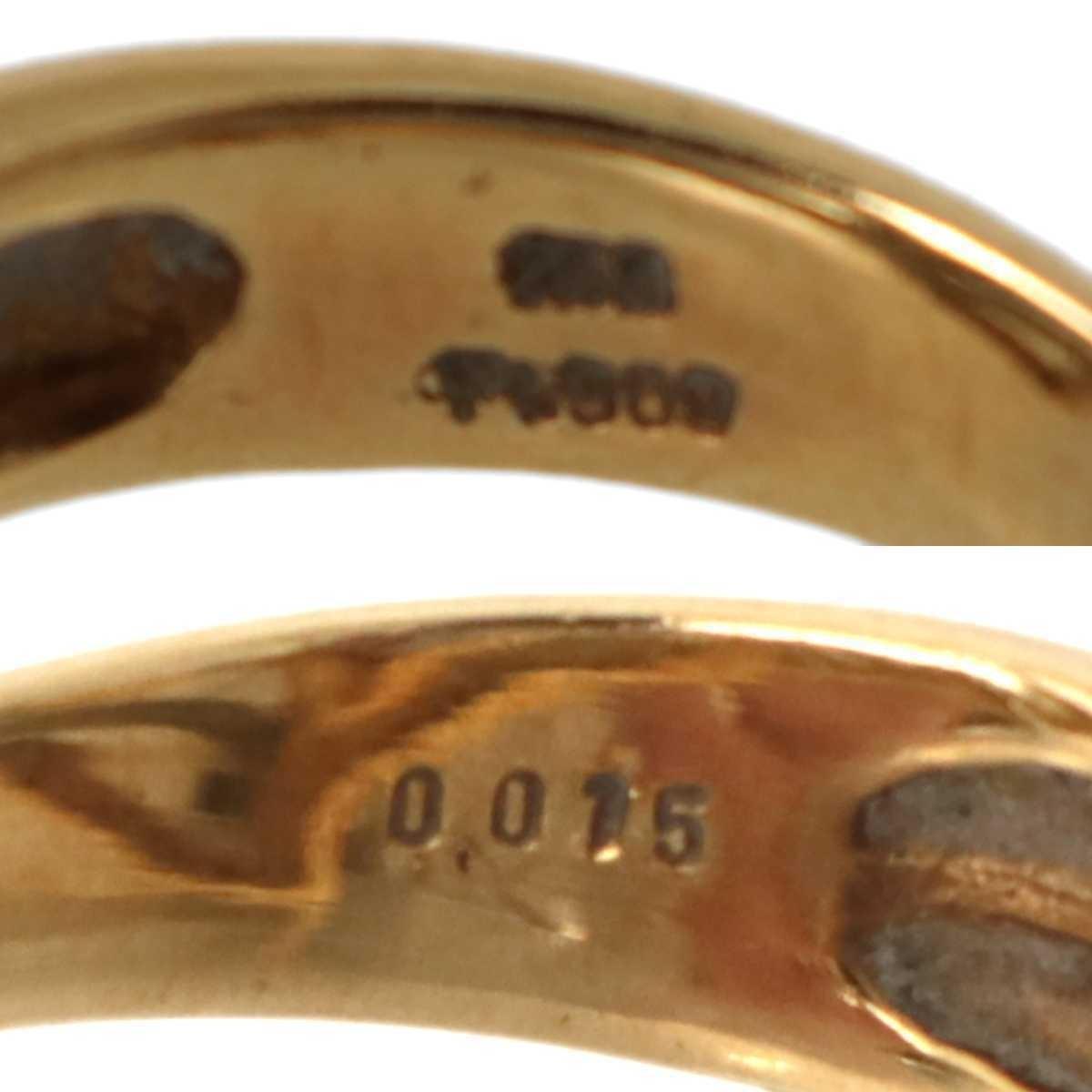 金プラチナコンビ ハートデザインリング 指輪 K18YG×Pt900×ダイヤモンド 0.015ct 13号 重量約6.5g NT_画像7