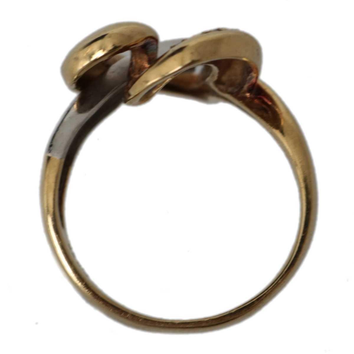 金プラチナコンビ ハートデザインリング 指輪 K18YG×Pt900×ダイヤモンド 0.015ct 13号 重量約6.5g NT_画像6
