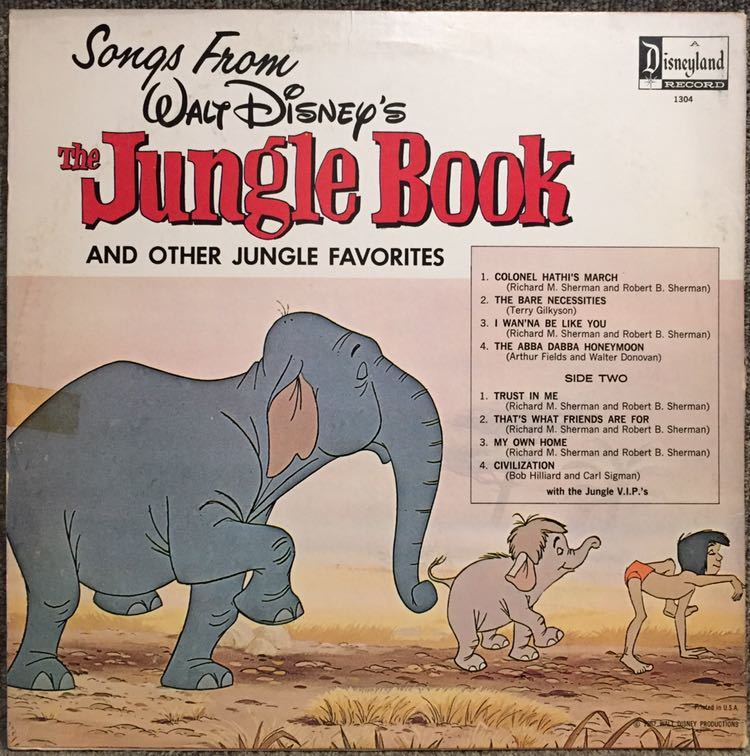 【US盤/Soundtrack/美盤(EX)/LP】The Jungle V.I.P's Songs From The Jungle Book And Other Jungle Favourites / 試聴検品済_画像2