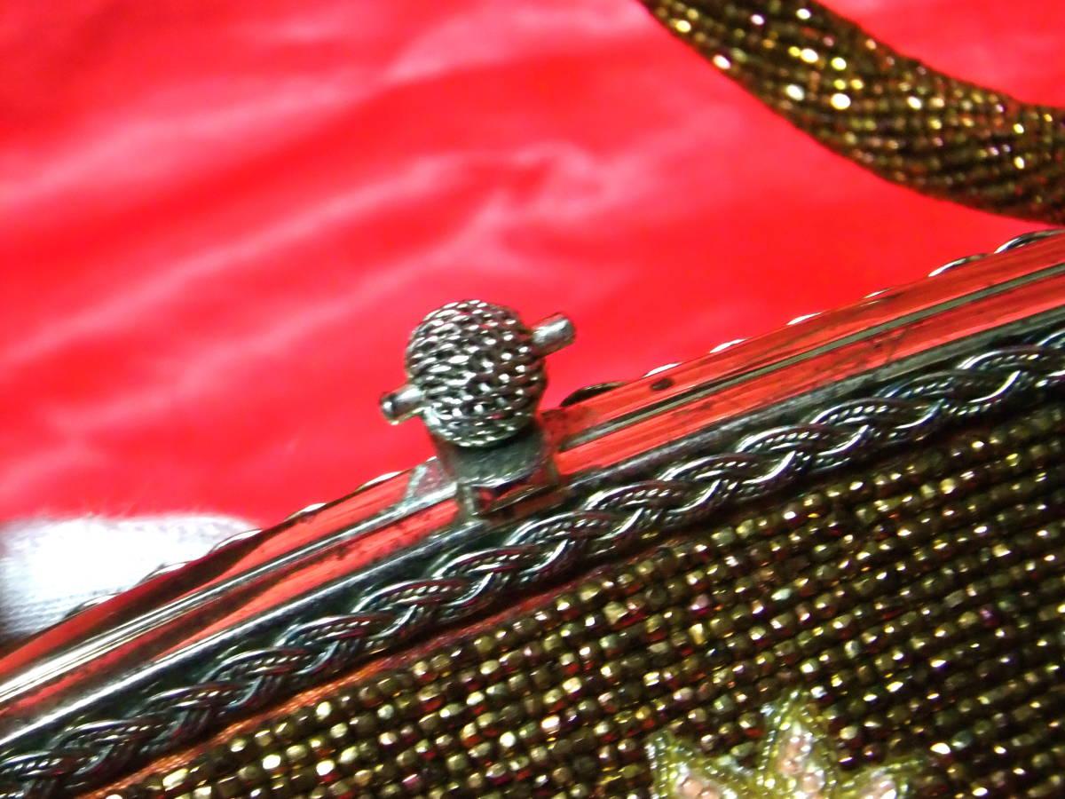 レア! 美麗 紅葉柄 大振り ビーズバッグ 紅葉 楓 着物 和服 ドレス 慶事 パーティー アンティーク レトロ 鈍金色 アート b1325_画像8