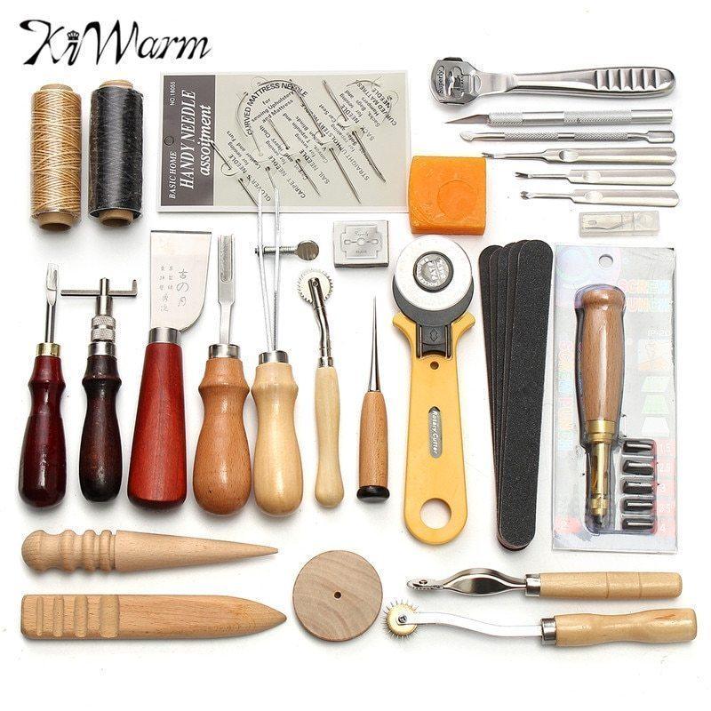 レザークラフト 縫い道具セット37点セット KiWarm レザーツール 革工具セット 革細工・DIY・手作り 縫製キット 人気_画像6