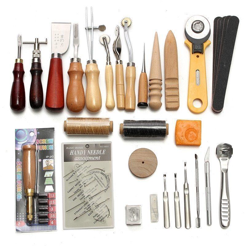 レザークラフト 縫い道具セット37点セット KiWarm レザーツール 革工具セット 革細工・DIY・手作り 縫製キット 人気_画像1