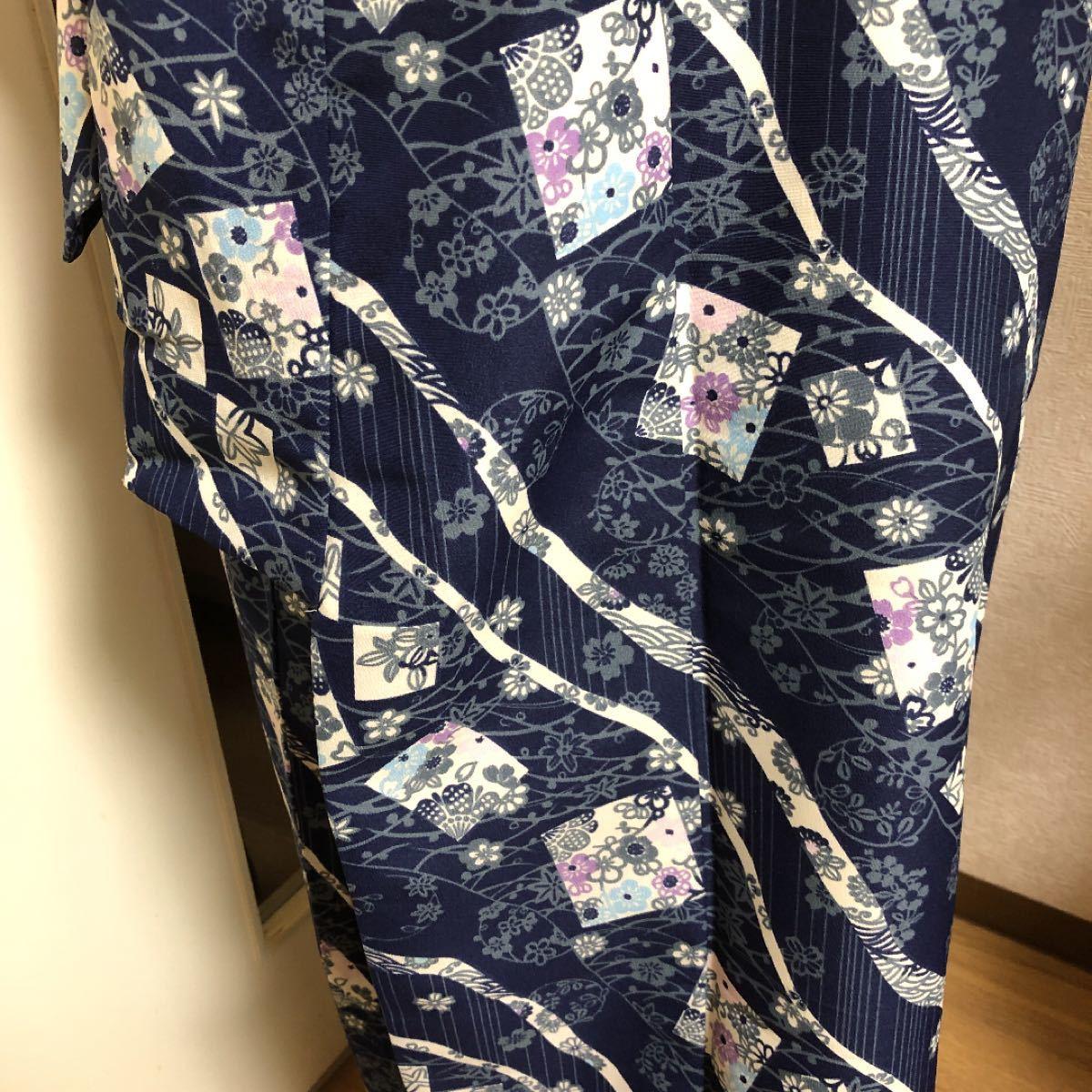 着物 洗える着物 薄い紺色