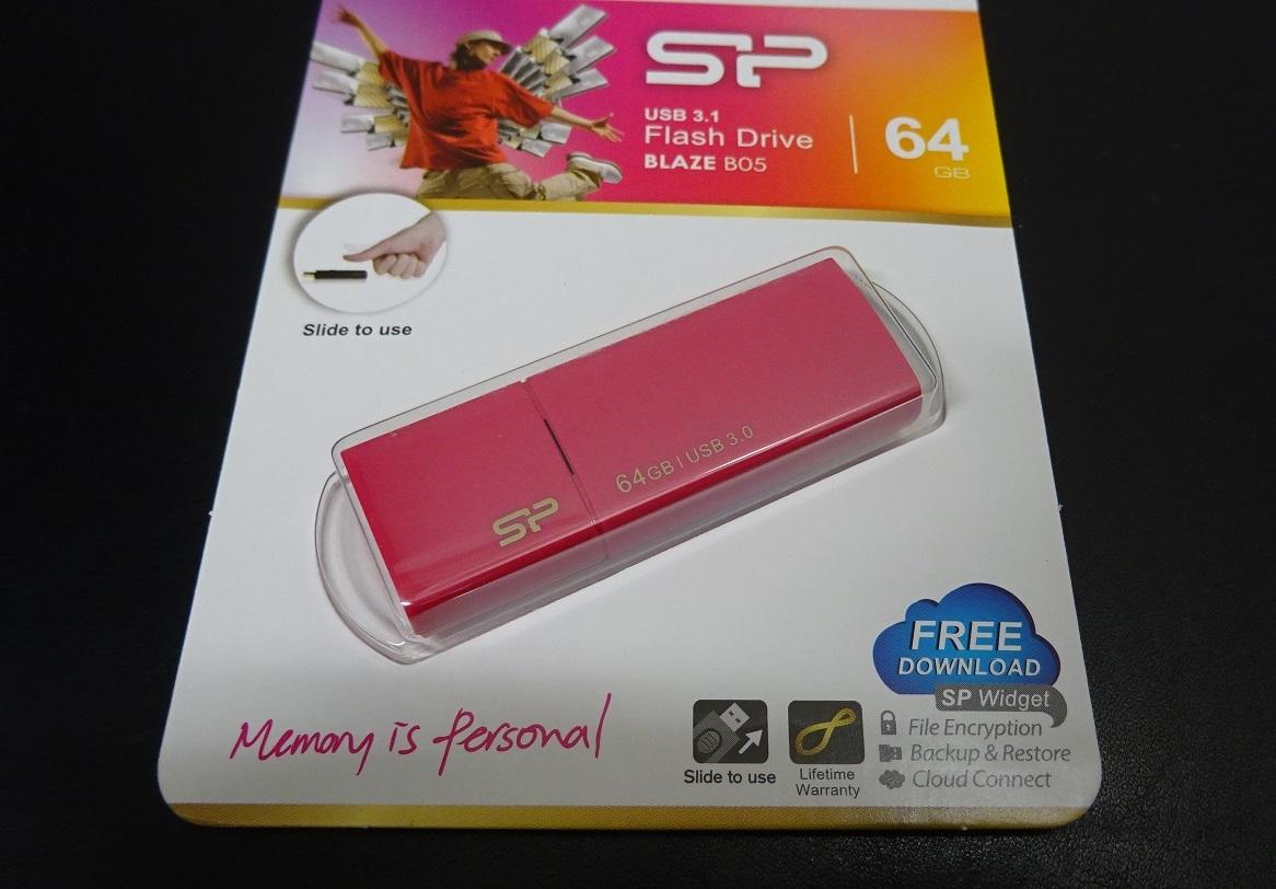 新品 未使用 未開封 USB メモリ USB3.0 USB2.0 フラッシュメモリ 64GB Blaze B05 ピンク 送料無料_画像3
