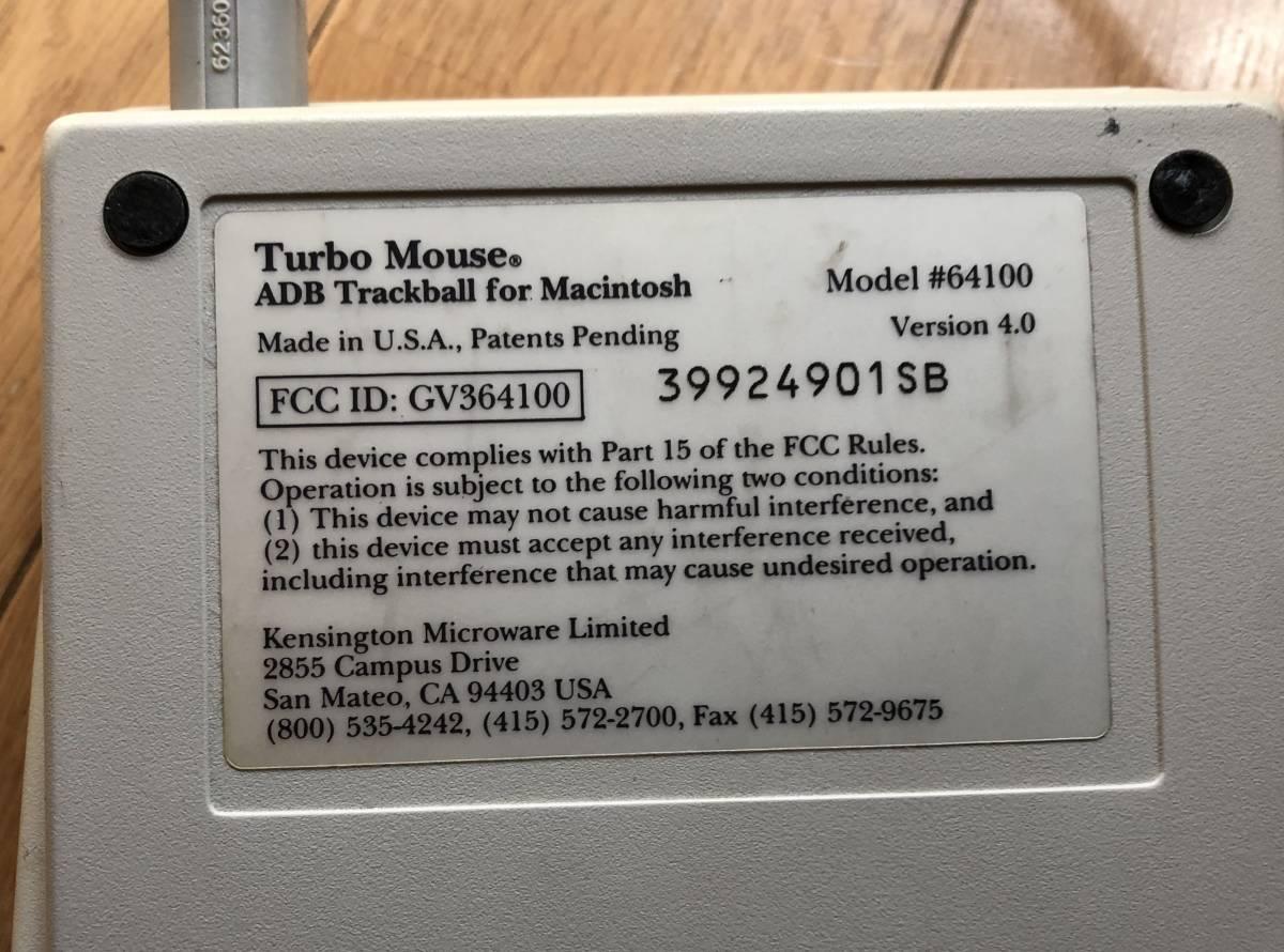 Kensington Turbo Mouse ADB Trackball トラックボール ビンテージ_画像6