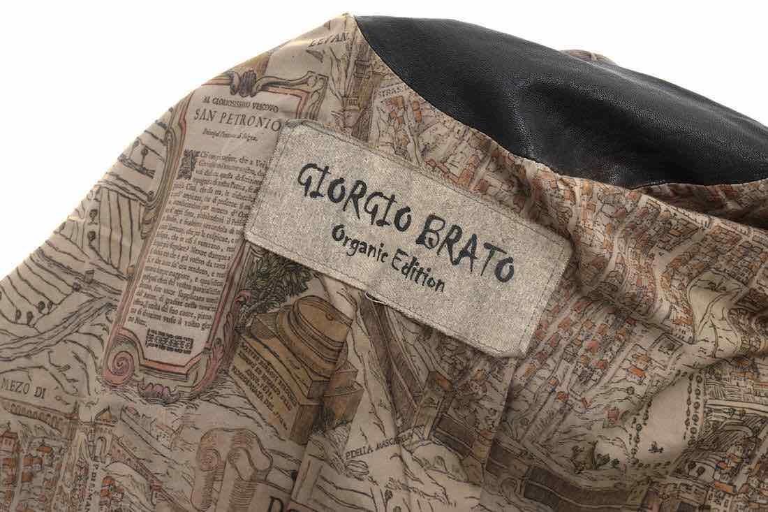 GIORGIO BRATO ジョルジオブラット シングルライダース ジャケット ラムレザー 子羊革 Organic Edition リブ 46 イタリア製 j2783_画像9