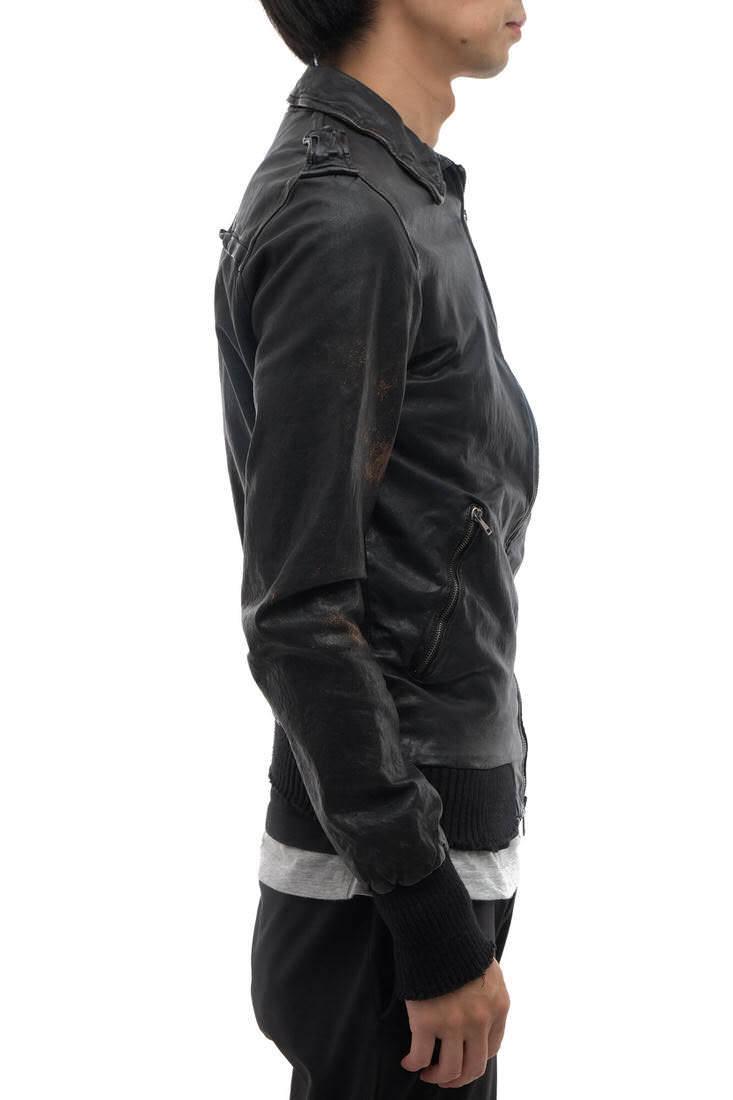 GIORGIO BRATO ジョルジオブラット シングルライダース ジャケット ラムレザー 子羊革 Organic Edition リブ 46 イタリア製 j2783_画像2