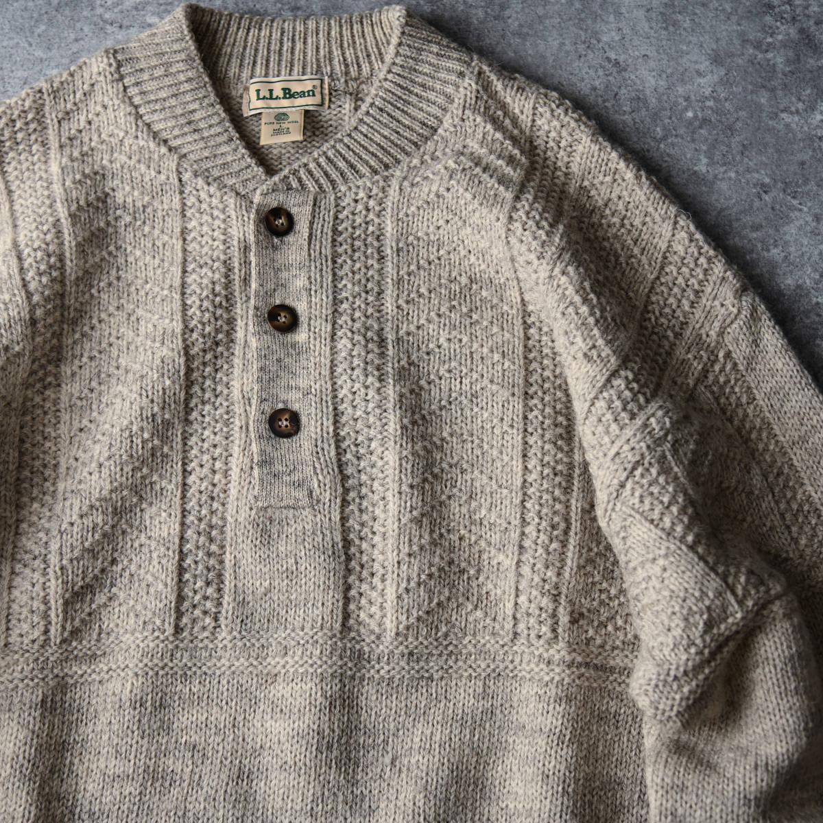 希少 80s L.L.Bean スコットランド製 ショールカラー ニット セーター 杢ウール / ビンテージ エルエルビーン フィッシャーマン 70s 90s_画像3