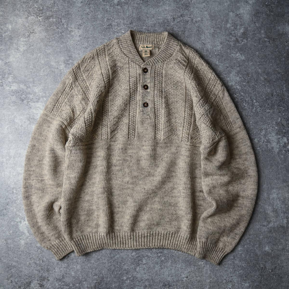 希少 80s L.L.Bean スコットランド製 ショールカラー ニット セーター 杢ウール / ビンテージ エルエルビーン フィッシャーマン 70s 90s