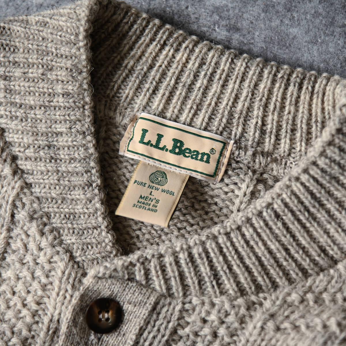 希少 80s L.L.Bean スコットランド製 ショールカラー ニット セーター 杢ウール / ビンテージ エルエルビーン フィッシャーマン 70s 90s_画像4
